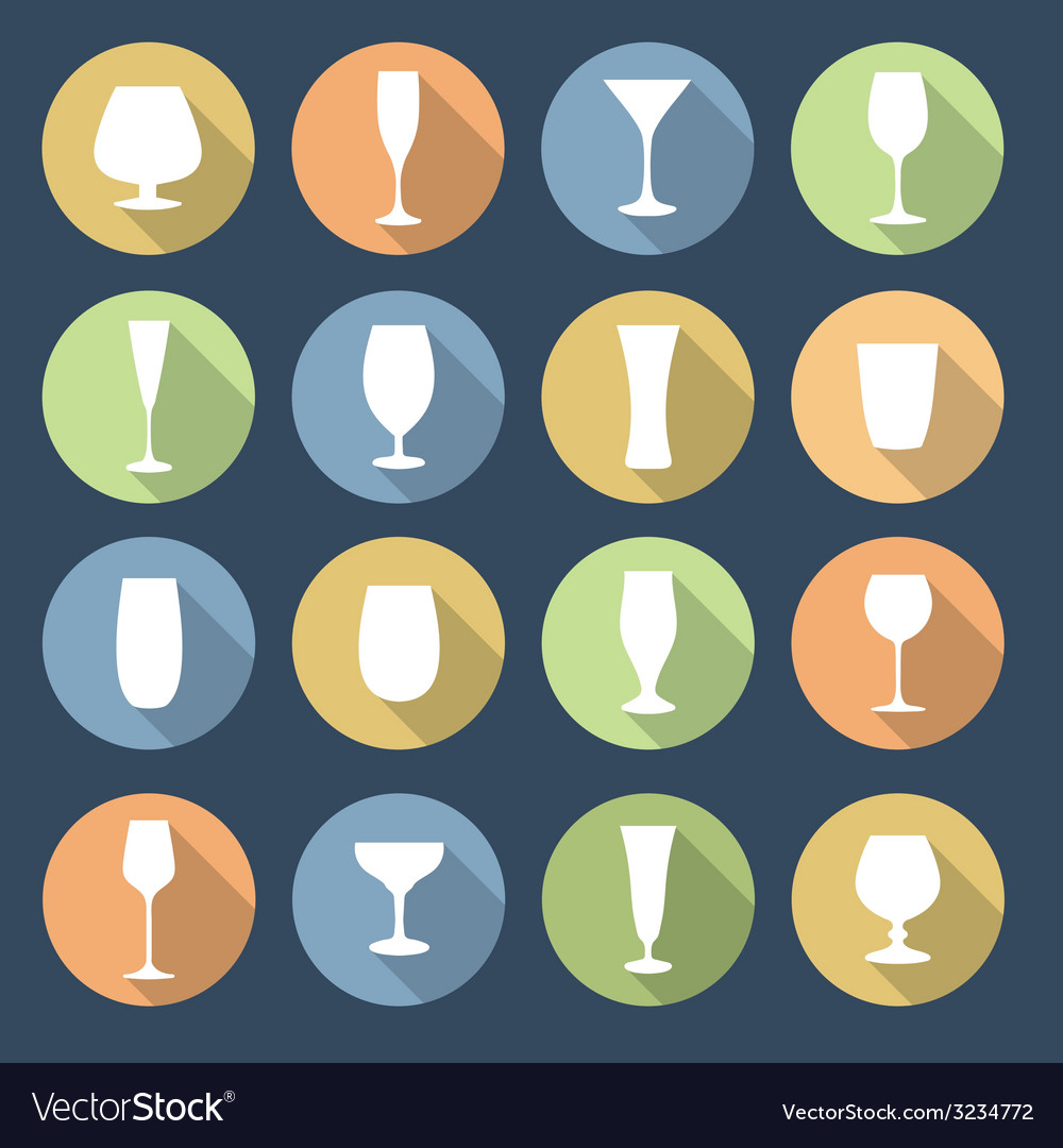Drink glasses icons set vector | Price: 1 Credit (USD $1)