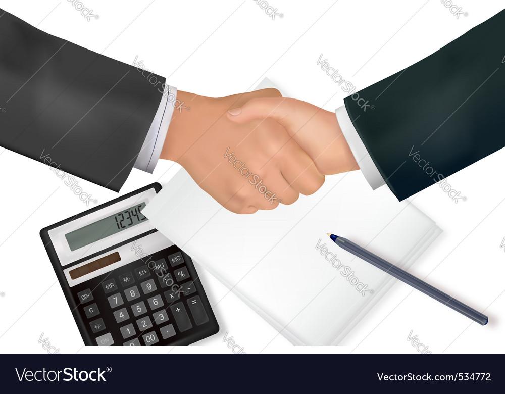 Handshake over paper and pen vector   Price: 3 Credit (USD $3)