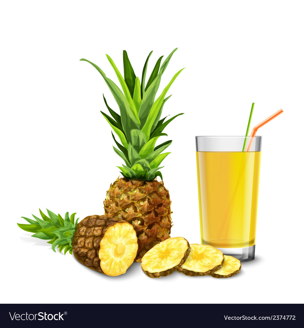 Pineapple juice glass vector | Price: 1 Credit (USD $1)