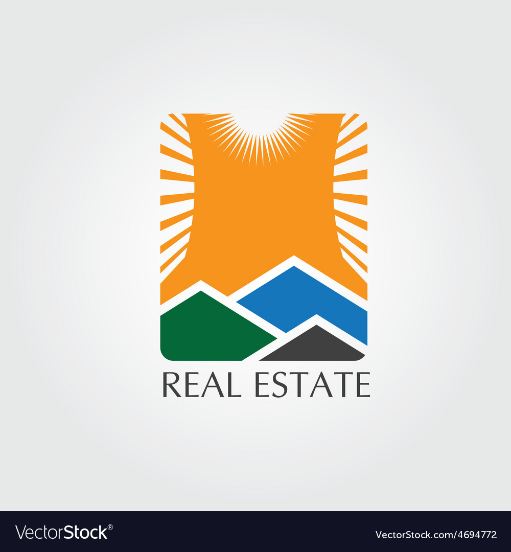 Real estate icon with sun vector | Price: 1 Credit (USD $1)