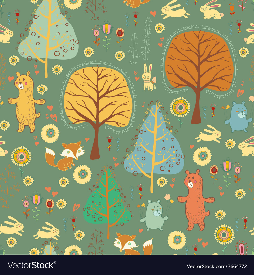 Seamless pattern in childish cartoon style vector | Price: 1 Credit (USD $1)