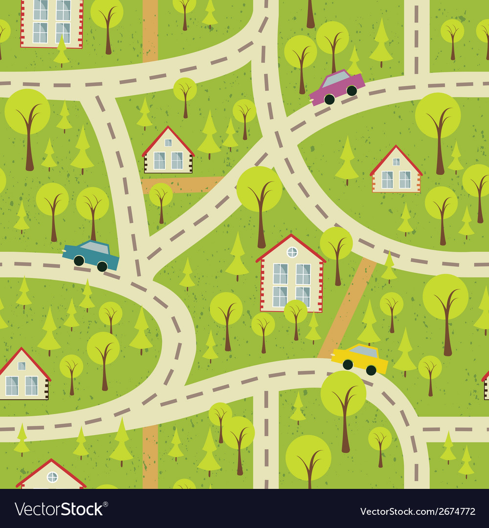 Seamless pattern with light asphalt and houses 2 vector | Price: 1 Credit (USD $1)