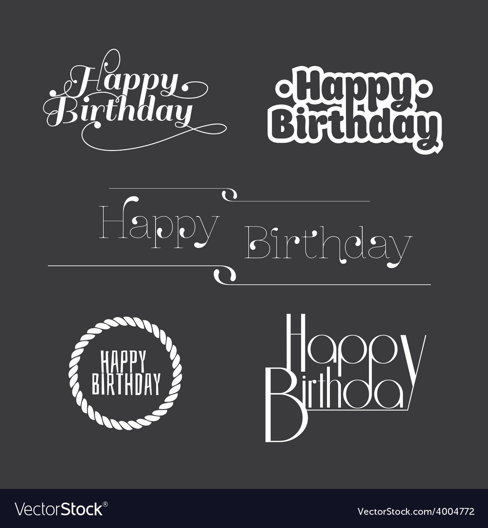 Set of happy birthday lettering vector | Price: 1 Credit (USD $1)