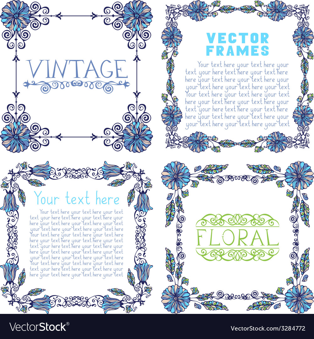 Set of ornate frames with floral elements vector | Price: 1 Credit (USD $1)