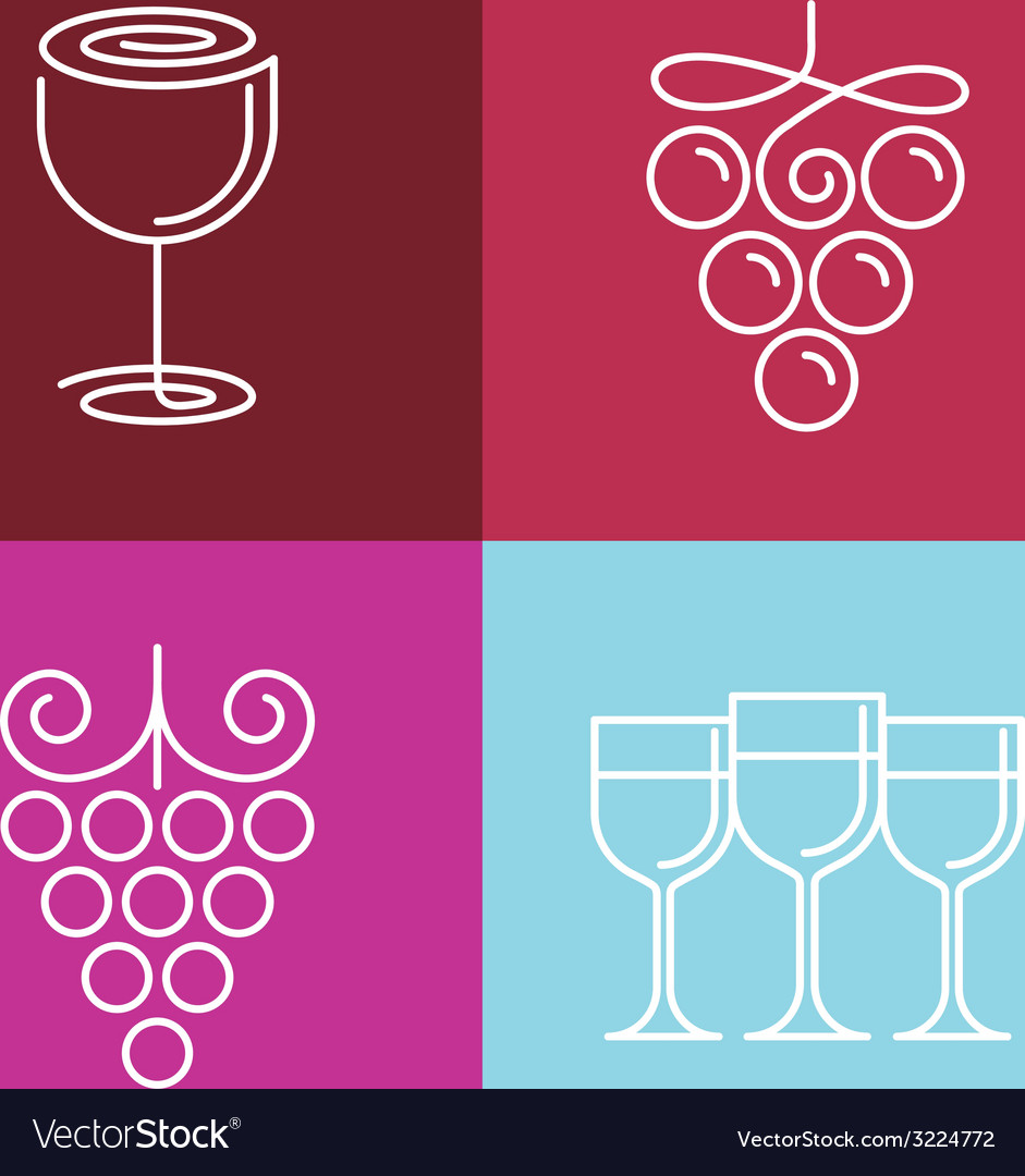 Wine line icons and logos vector | Price: 1 Credit (USD $1)