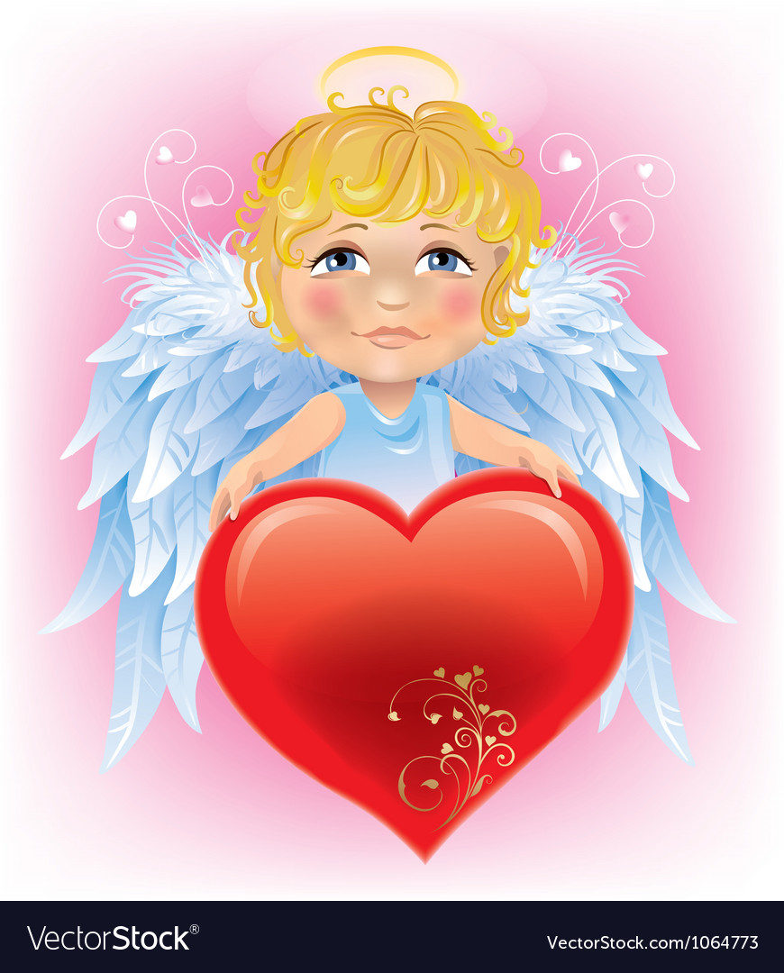 Angel little boy and valentines day heart vector | Price: 3 Credit (USD $3)