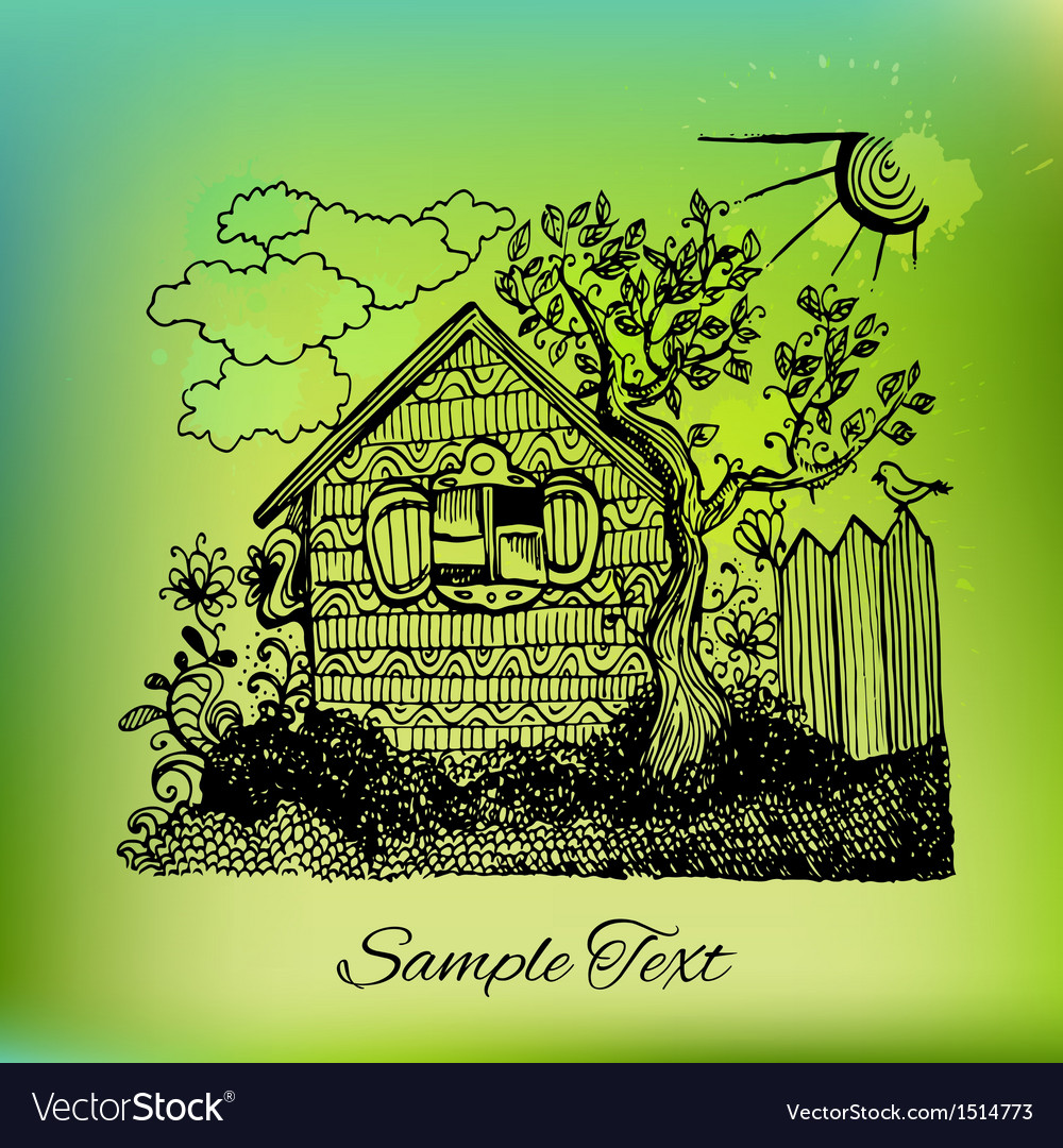 Black hand drawn country house landscape on vector | Price: 1 Credit (USD $1)