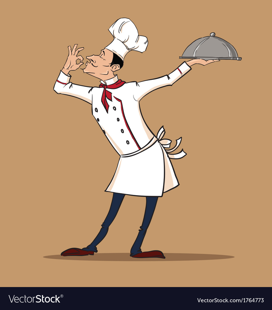 Chef cook is serving his exquisite dish vector | Price: 1 Credit (USD $1)