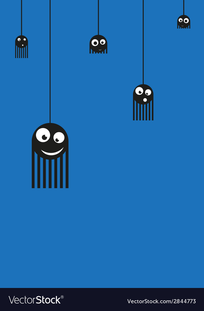 Cute monsters spiders on web vector | Price: 1 Credit (USD $1)