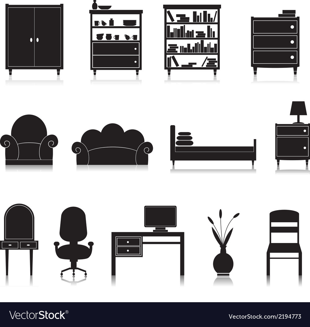 Furniture icons black vector | Price: 1 Credit (USD $1)
