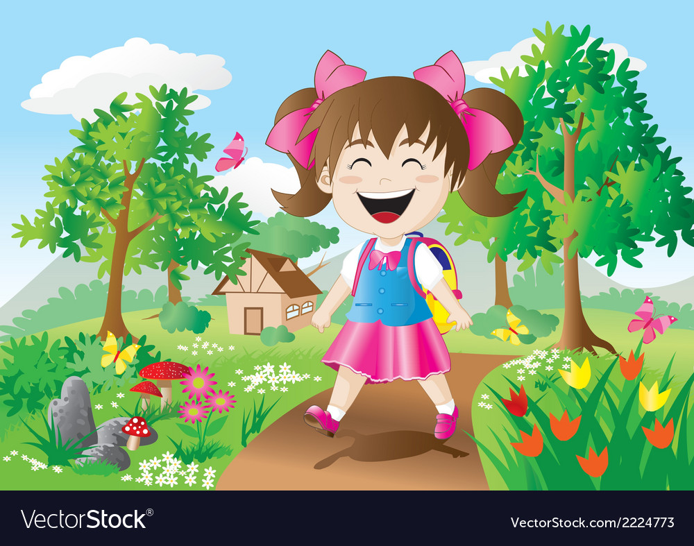 Girls are going to school vector | Price: 1 Credit (USD $1)