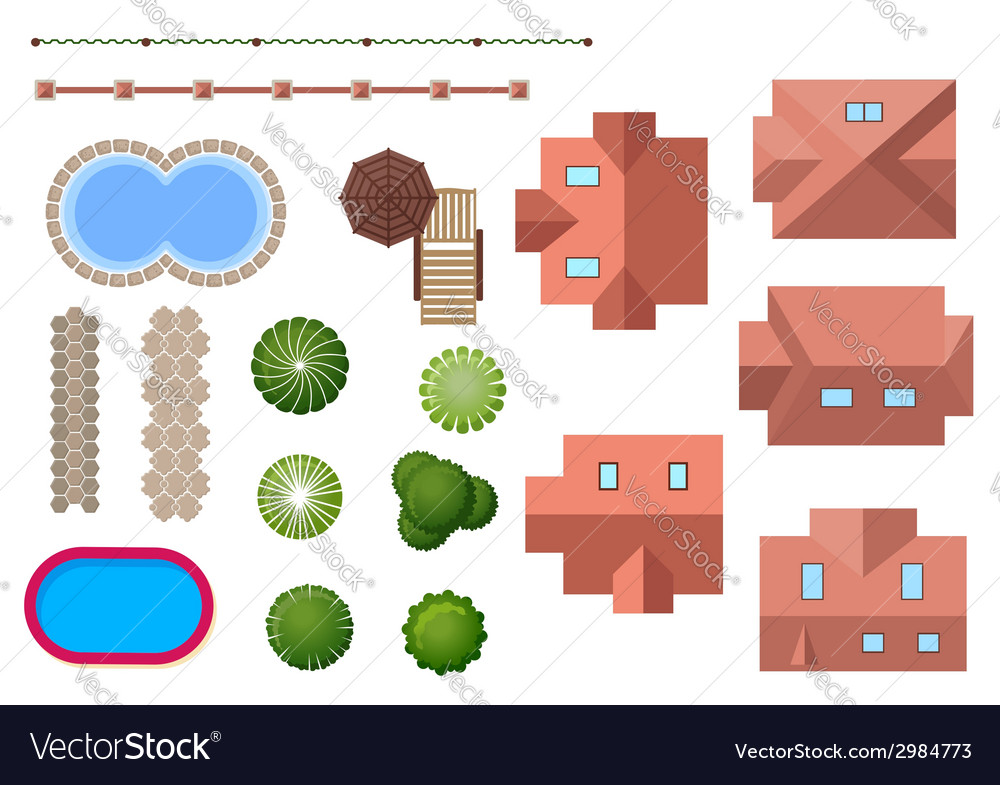 Home landscape and property elements vector | Price: 1 Credit (USD $1)