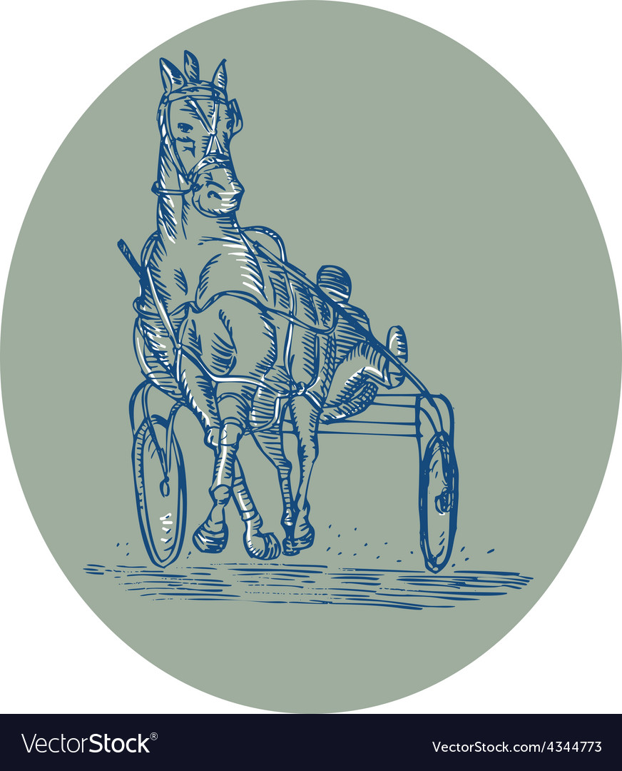 Horse and jockey harness racing etching vector | Price: 1 Credit (USD $1)