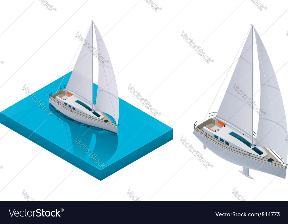 Isometric yacht vector | Price: 3 Credit (USD $3)