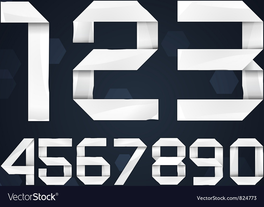 Paper font digits vector | Price: 1 Credit (USD $1)
