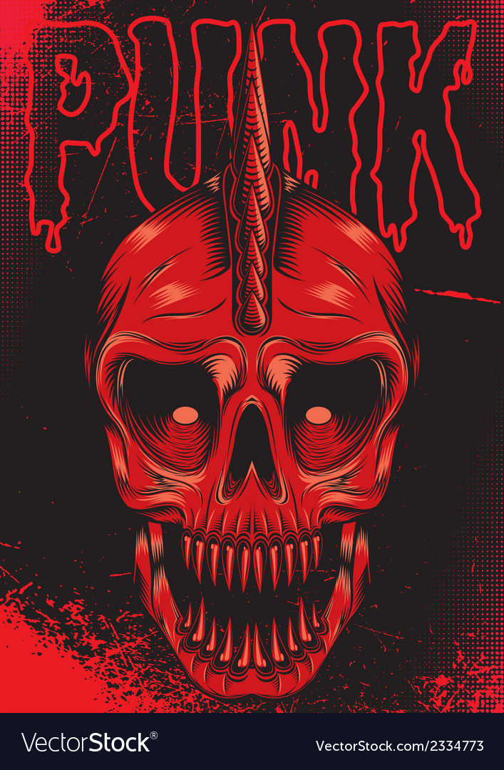 Poster with a red skull for punk rock vector | Price: 3 Credit (USD $3)