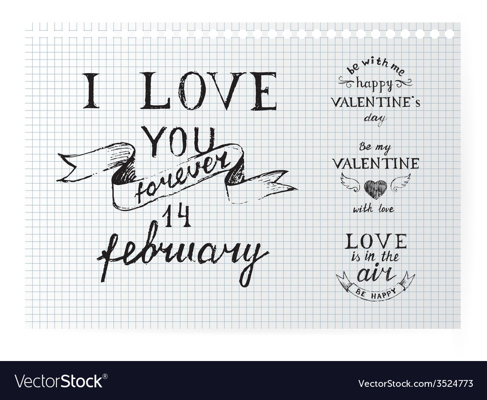Valentines day typography vector | Price: 1 Credit (USD $1)