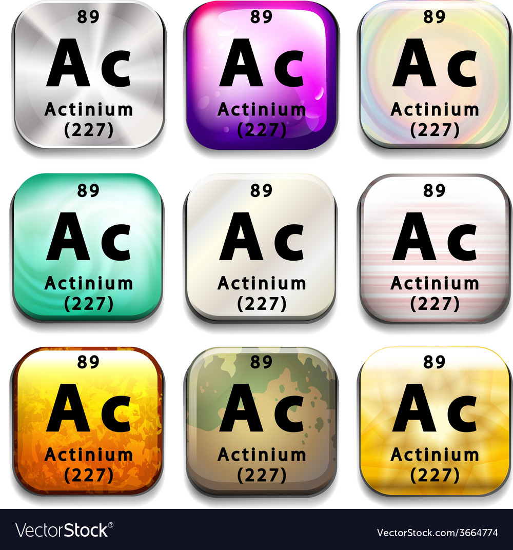 A periodic table showing actinium vector | Price: 1 Credit (USD $1)