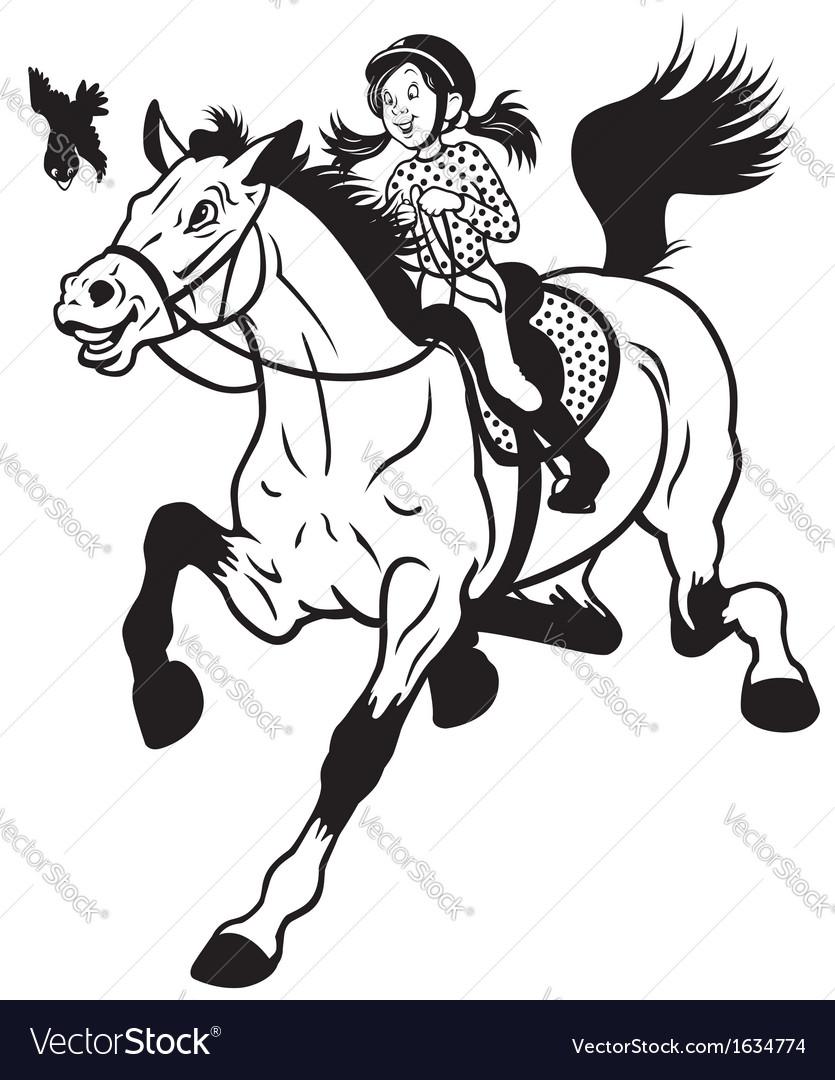 Cartoon girl riding horse black white vector   Price: 1 Credit (USD $1)