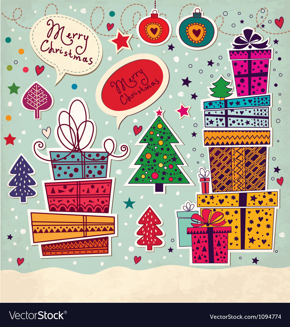 Christmas present stack vector | Price: 1 Credit (USD $1)