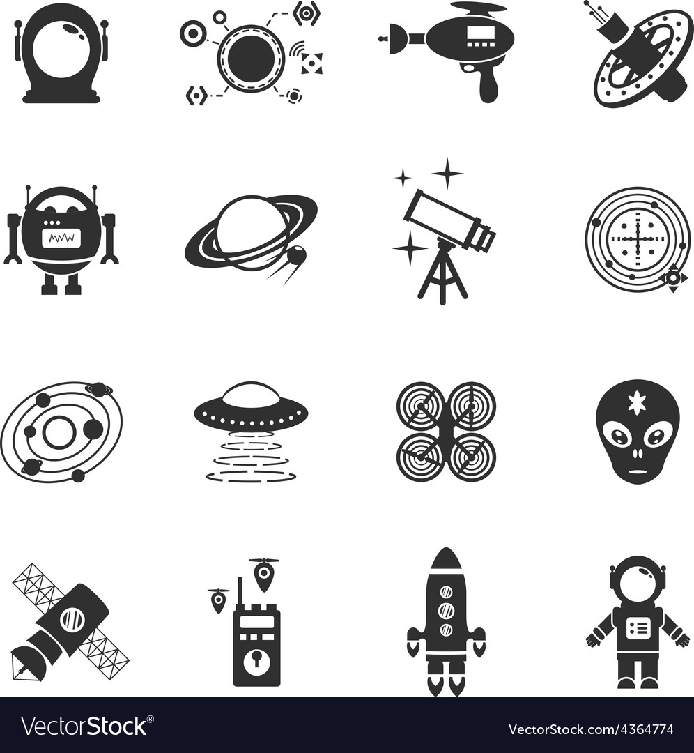 Fiction icons black set vector
