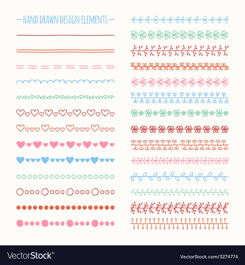 Hand drawn line border set and scribble design vector | Price: 1 Credit (USD $1)