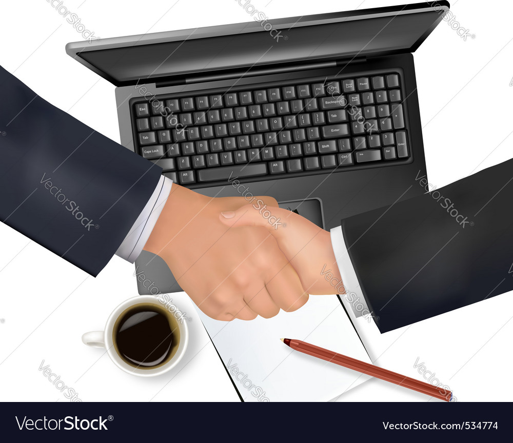 Handshake over paper and pen vector | Price: 3 Credit (USD $3)