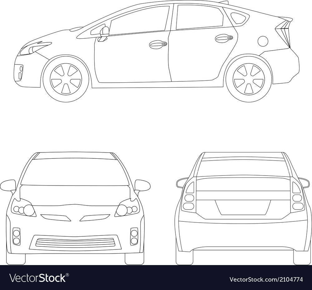 Medium size city car line art style vector | Price: 1 Credit (USD $1)