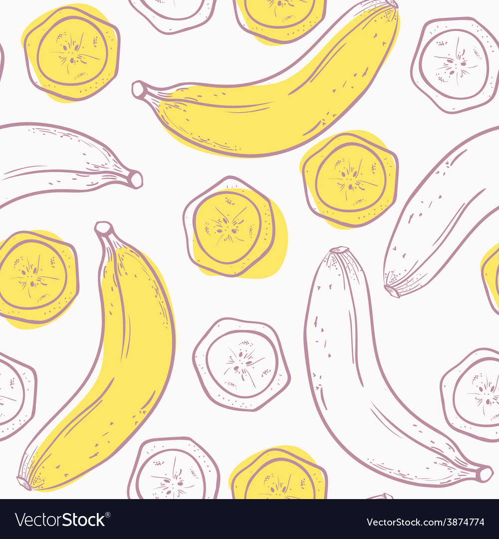 Outline stylized seamless pattern with banana vector | Price: 1 Credit (USD $1)