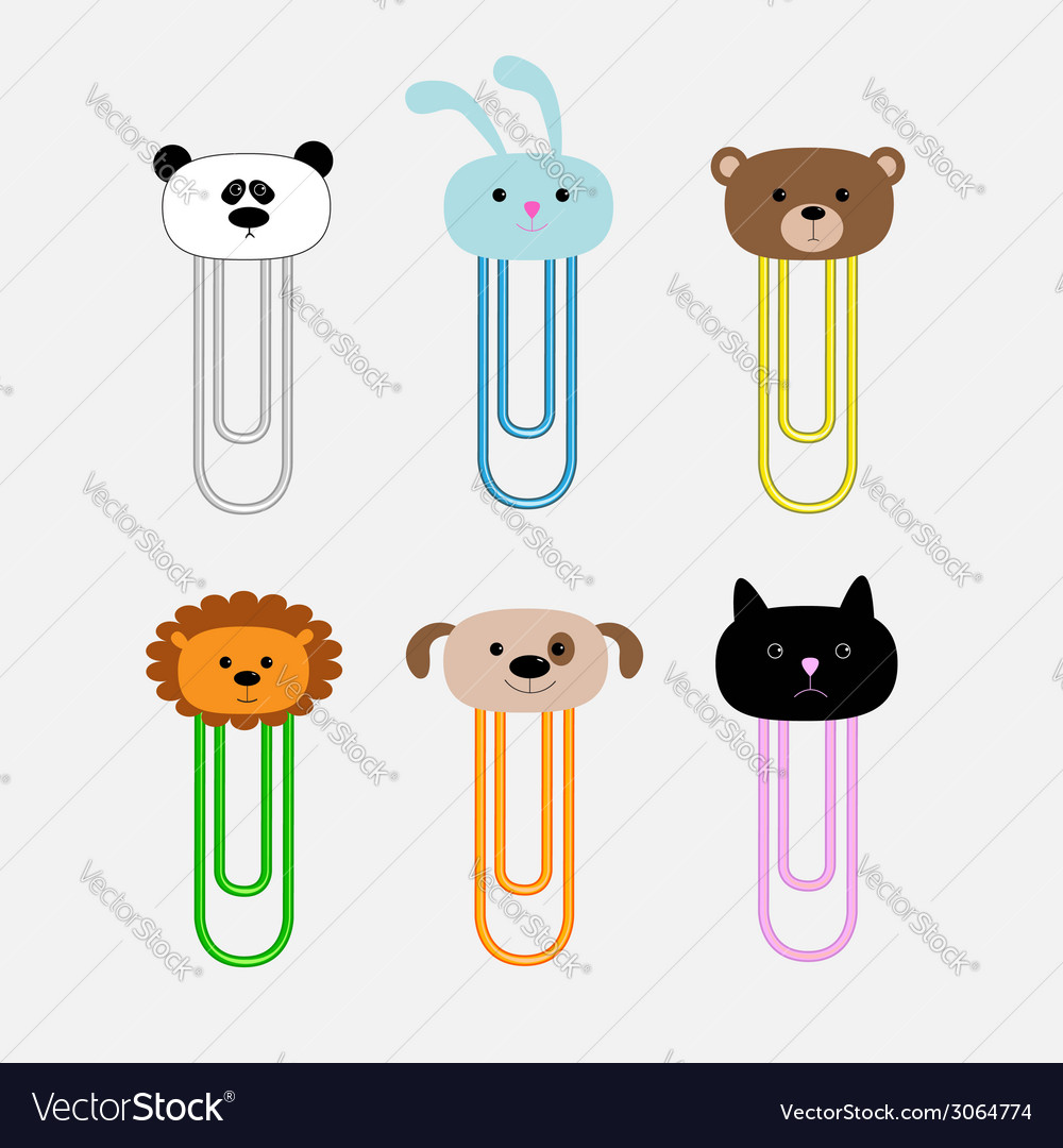 Paperclips with animal head set panda rabit dog vector | Price: 1 Credit (USD $1)
