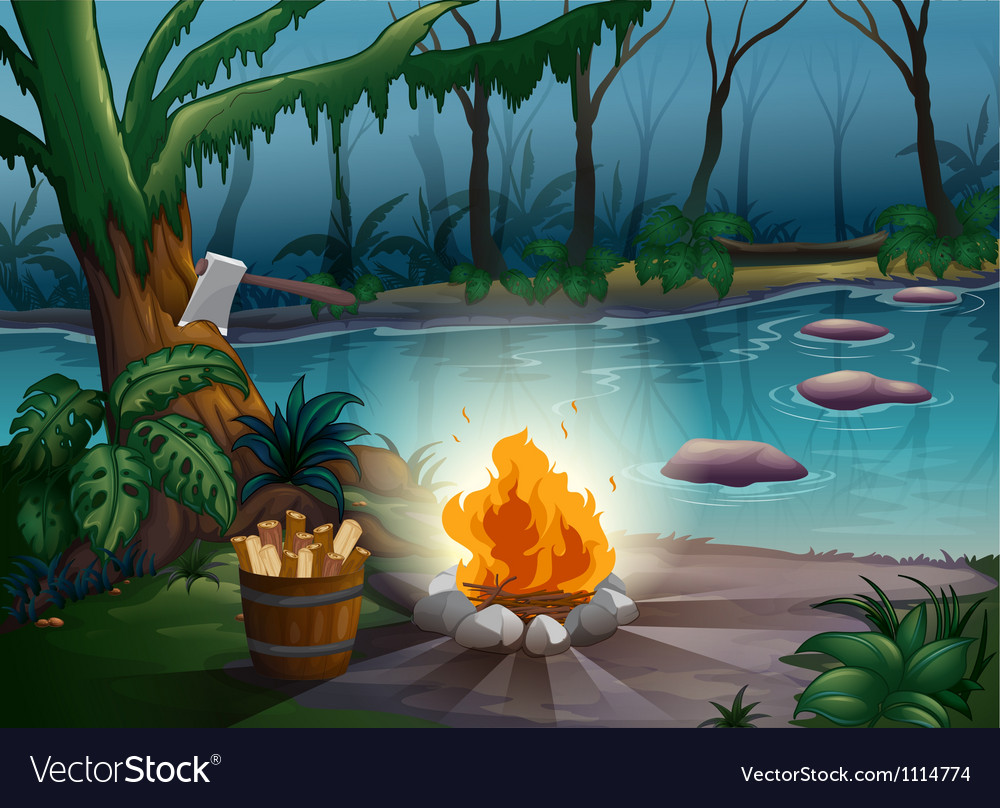 River and camp fire vector | Price: 3 Credit (USD $3)