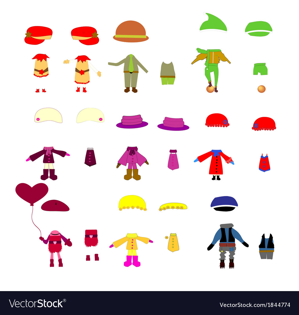 Set of childrens clothes design elements vector | Price: 1 Credit (USD $1)