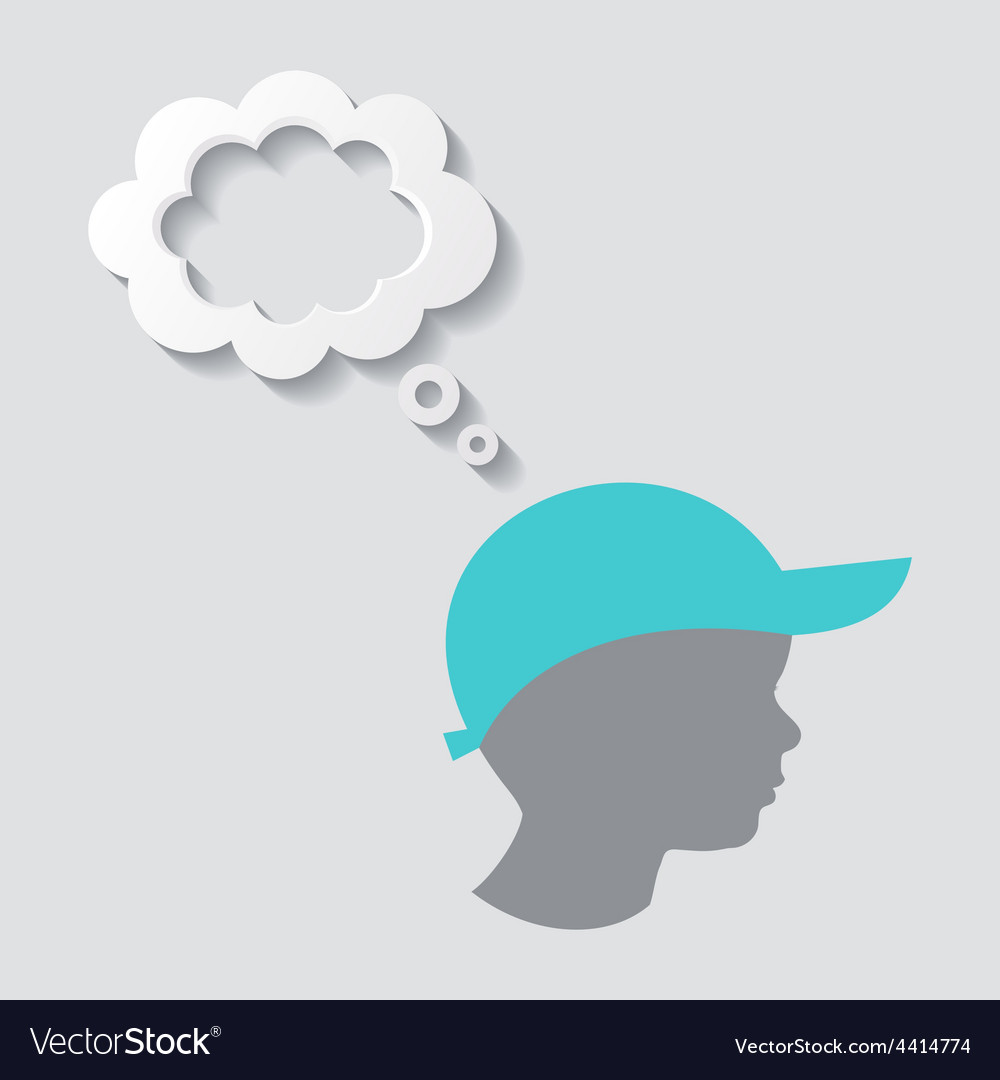 Silhouette of boy head vector