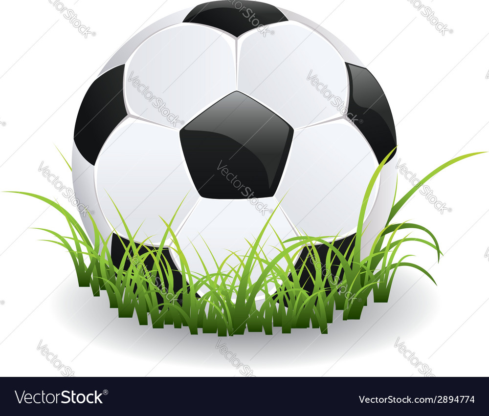 Soccer ball with grass vector | Price: 1 Credit (USD $1)