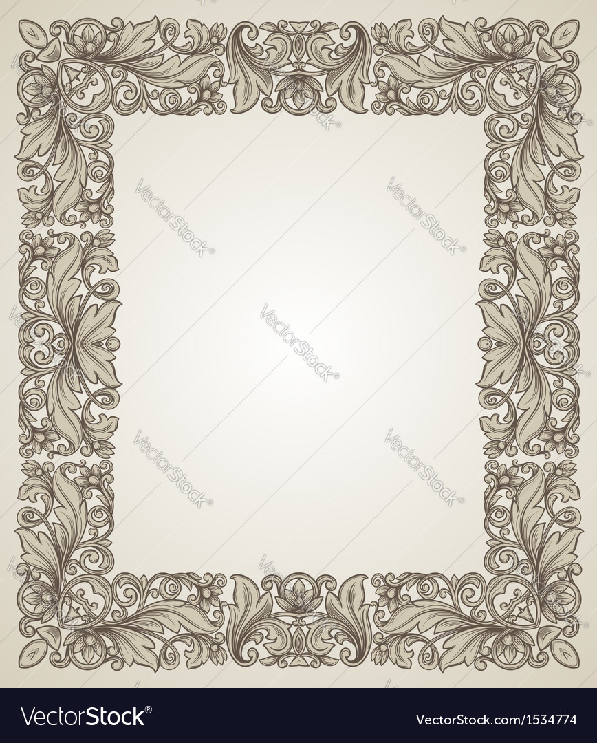 Vintage filigree frame with floral patterns vector | Price: 1 Credit (USD $1)