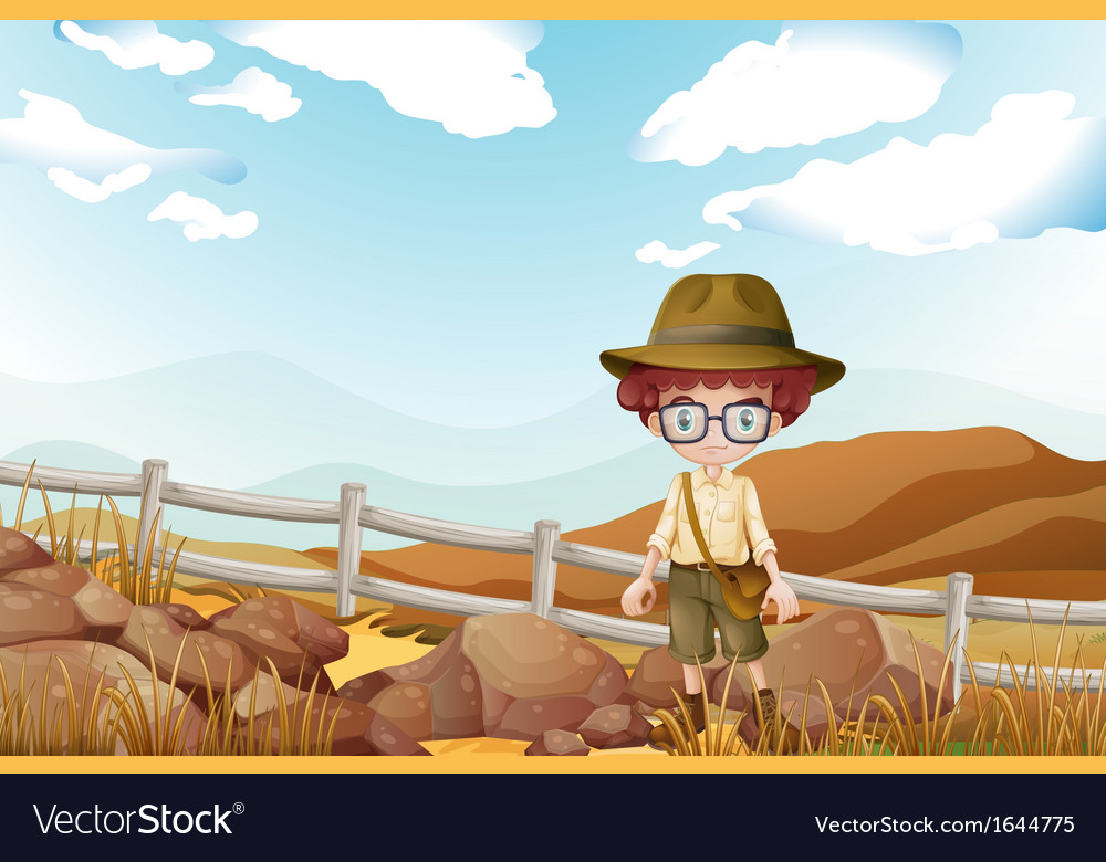 A serious explorer standing near the rocks vector | Price: 3 Credit (USD $3)