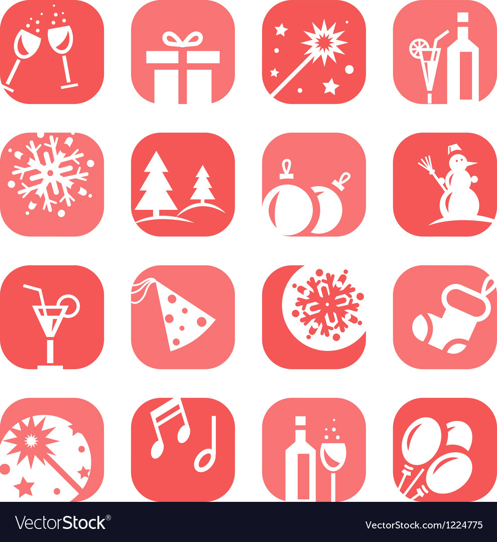 Color christmas icon set vector | Price: 1 Credit (USD $1)