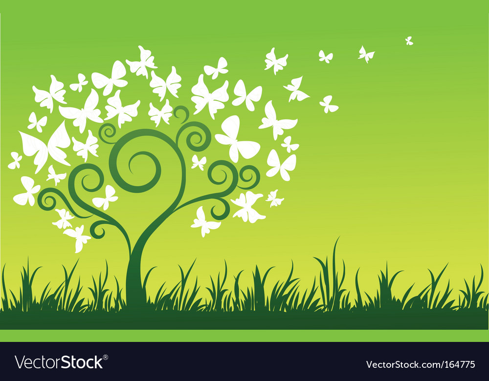 Floral graphic design butterflies tree vector | Price: 1 Credit (USD $1)