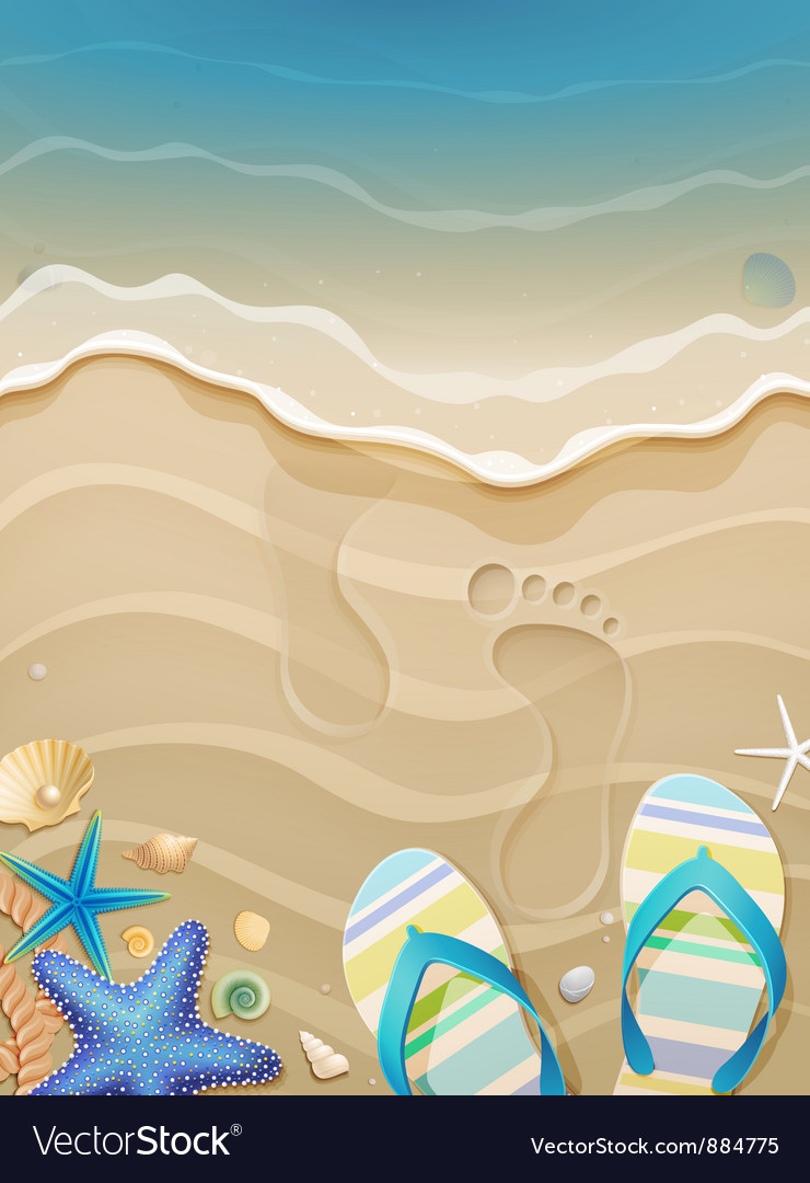 Footprints on sand vector