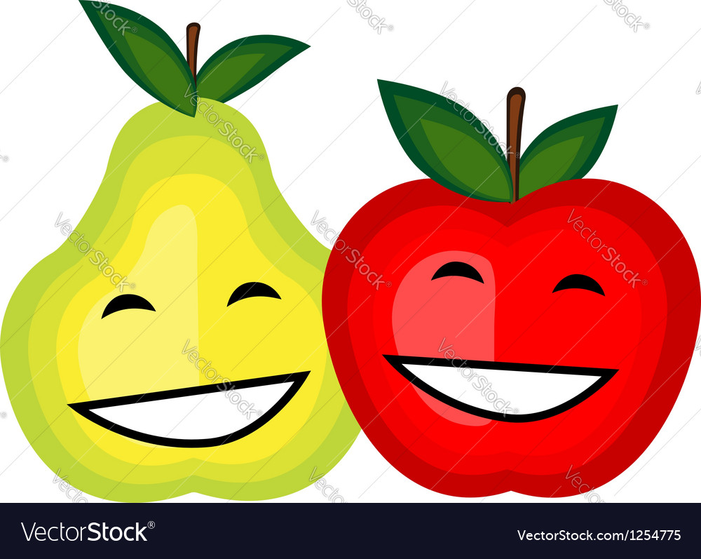 Funny fruits smiling together for your design vector | Price: 1 Credit (USD $1)