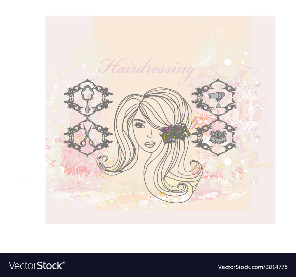 Hairdressing salon poster vector | Price: 1 Credit (USD $1)