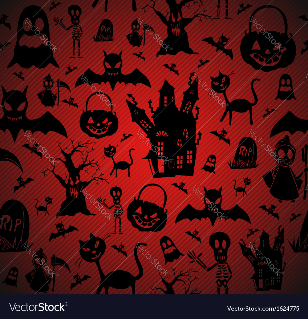 Halloween elements seamless pattern background vector | Price: 1 Credit (USD $1)