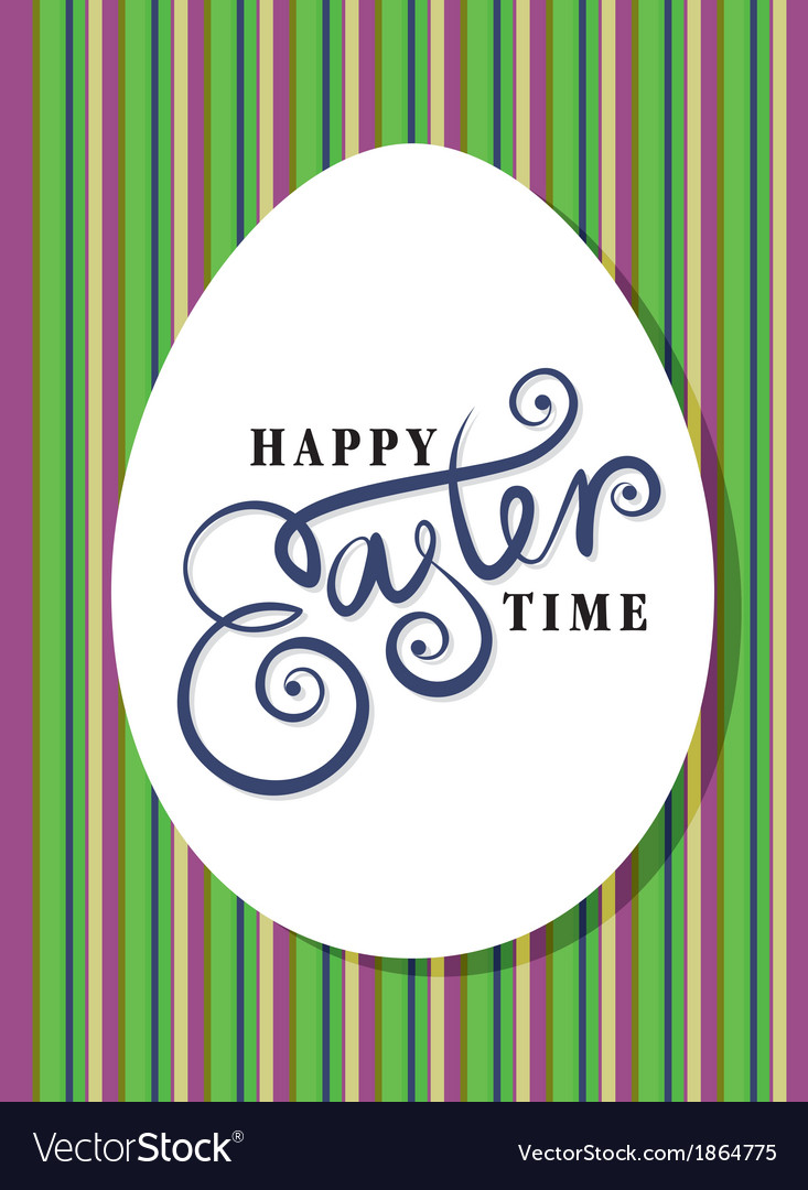 Happy easter greeting card hand lettering vector | Price: 1 Credit (USD $1)