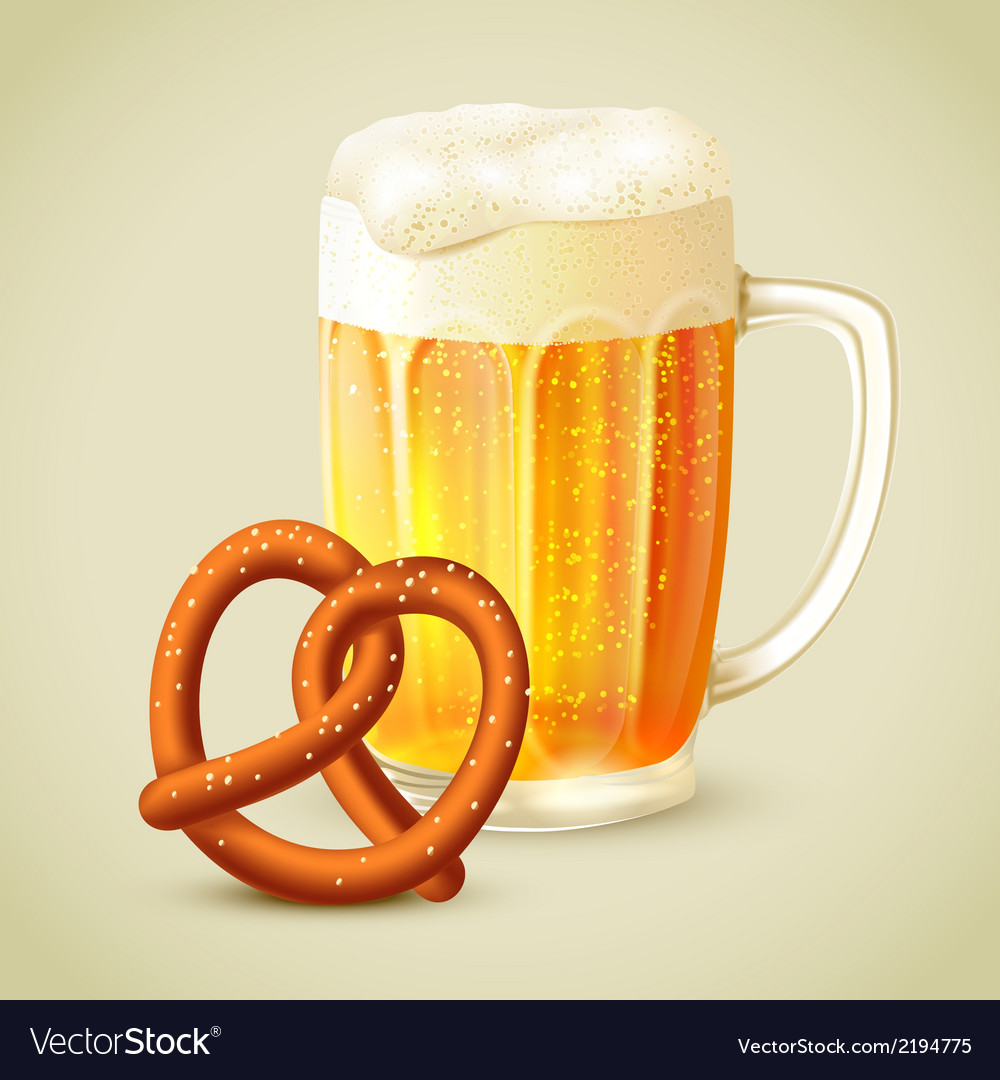 Mug of beer pretzel emblem vector | Price: 1 Credit (USD $1)