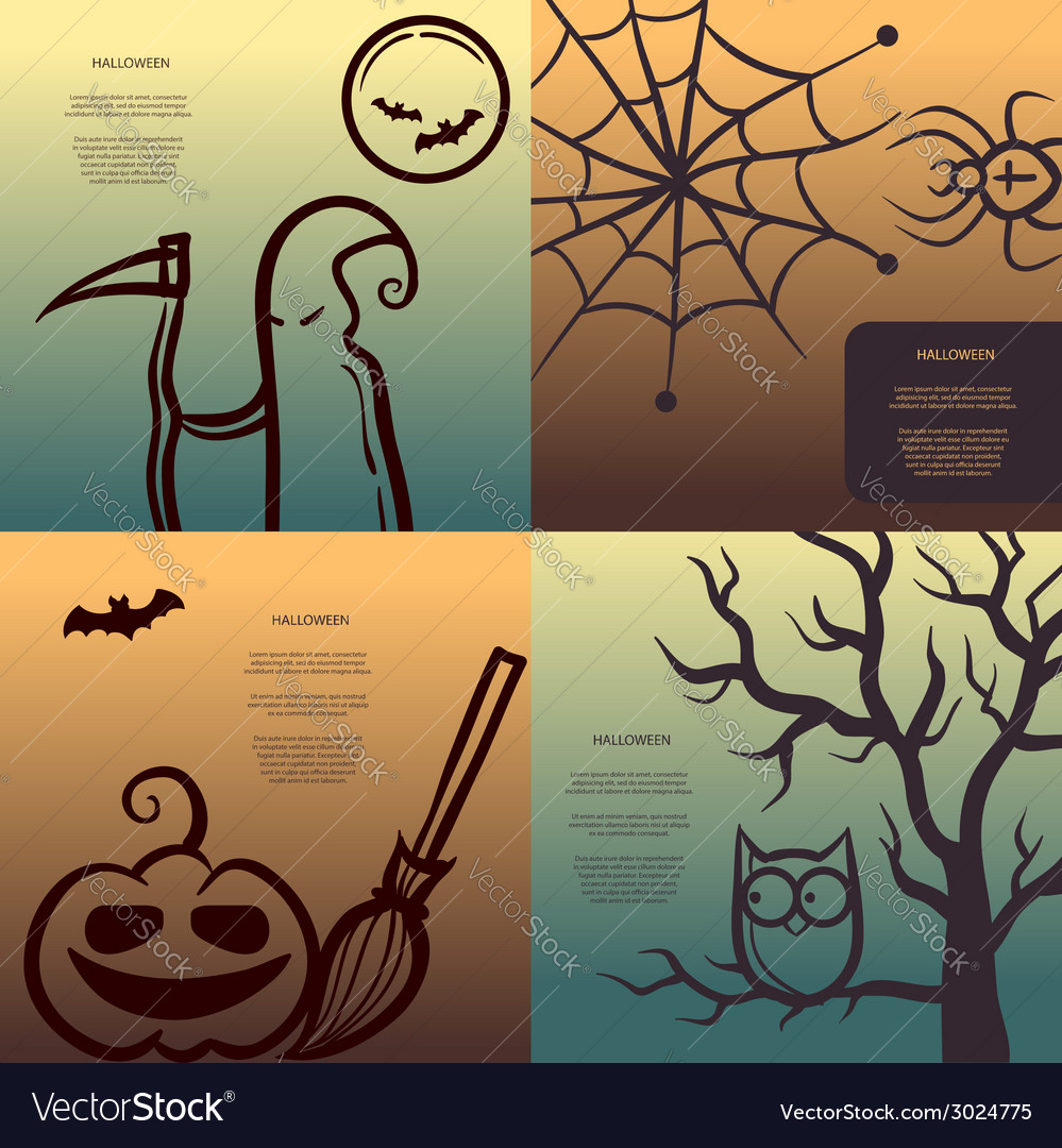 Retro graphical posters with halloween elements vector | Price: 1 Credit (USD $1)