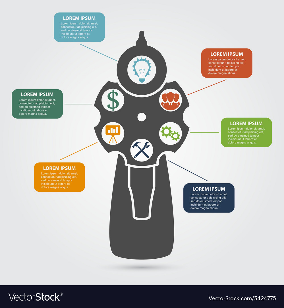 Revolver infographic vector | Price: 1 Credit (USD $1)