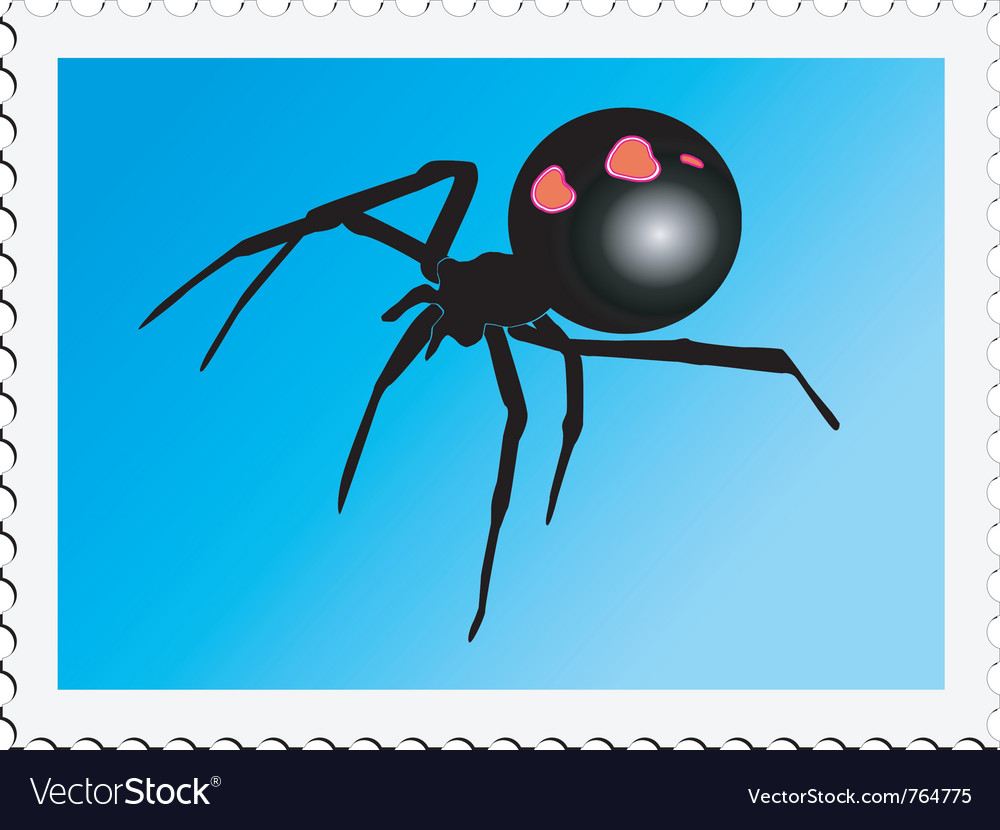 Stamp with image of black widow vector | Price: 1 Credit (USD $1)
