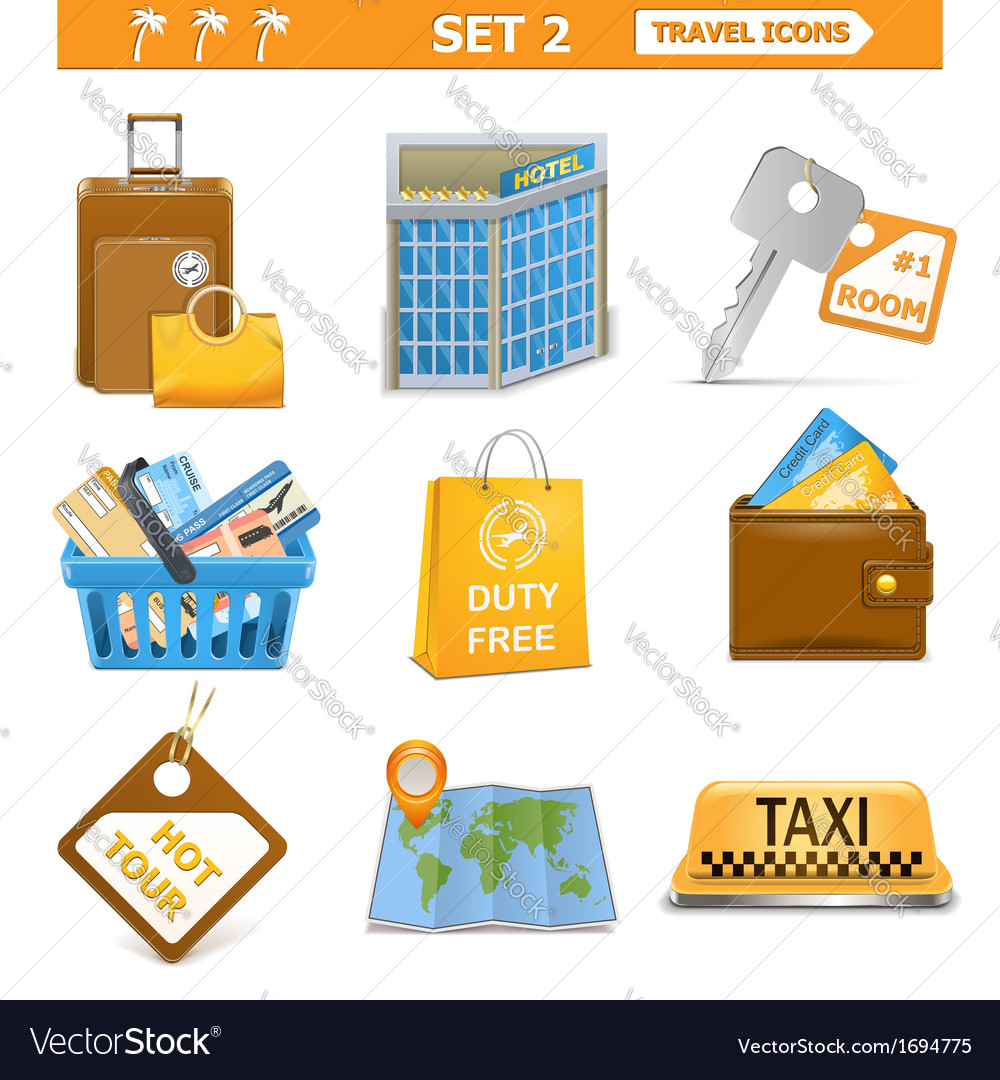 Travel icons set 2 vector | Price: 1 Credit (USD $1)