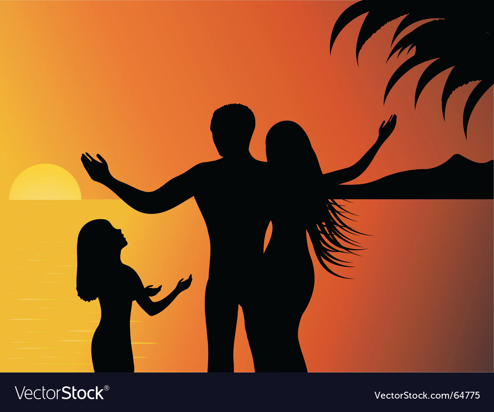 Tropical sunset vector | Price: 1 Credit (USD $1)