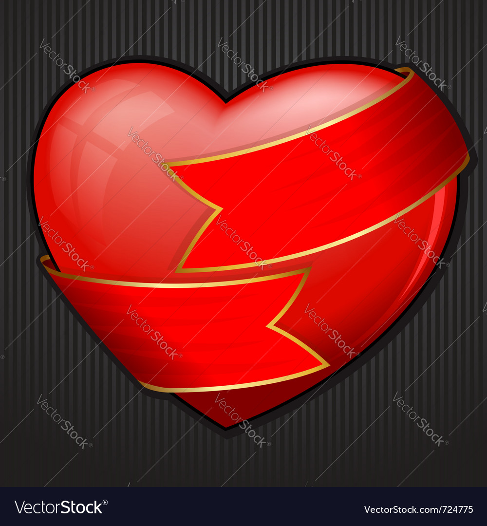 Valentines day heart wrapped in red ribbon vector | Price: 1 Credit (USD $1)